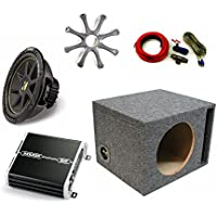 Kicker 10 Comp Sub DXA2501 Amp with Grill,Amp Kit, Ported Enclosure Bundle