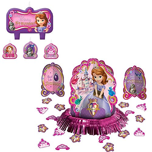 [Sofia the First Table and Cake Decorations: Candle Set and Table Decorating Kit] (Candle Table Decorations)