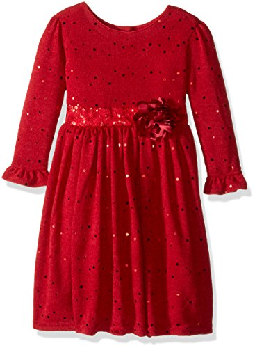 Sparkle Knit Dress (Youngland Little Girls' Sparkle Sweater Knit Dress With Flower Detail, Red, 6)