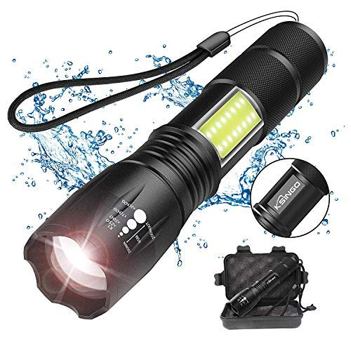 Smartmago LED Flashlight with COB Light - Portable and Zoomable CREE T6 LED Handheld Light with 4 Modes(18650 Battery Not Included)