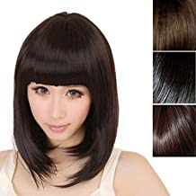 Straight Heat Resistant Full Wigs Short Bob Hair Wigs with Flat Bangs for Women Cosplay Halloween Costumes Daily Party Hair Wigs (11.8 inch, Brown)