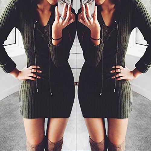 ... Damen Sexy V-Ausschnitt Langarm Kleider Damen Strick Bodycon Jumper  Kleid Winter Minikleid Party Kurze ... bccb62ad26