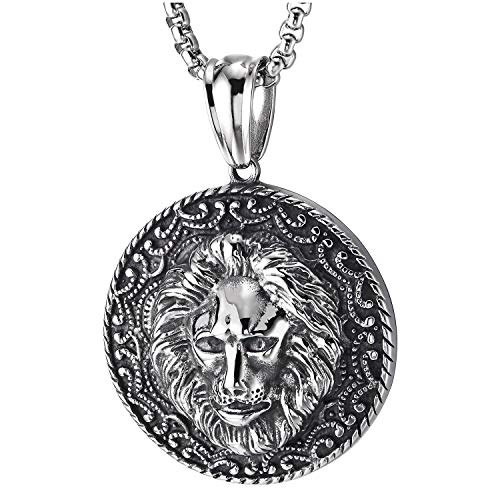 COOLSTEELANDBEYOND Men Steel Lion Head Circle Medal Pendant Necklace with Tattoo Pattern, Vintage Tribal, 30 in -