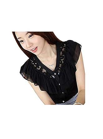 3959e0cd Women's Sexy Lace Sleeveless V Neck Casual Chiffon Shirt Tops Blouse Small  Black