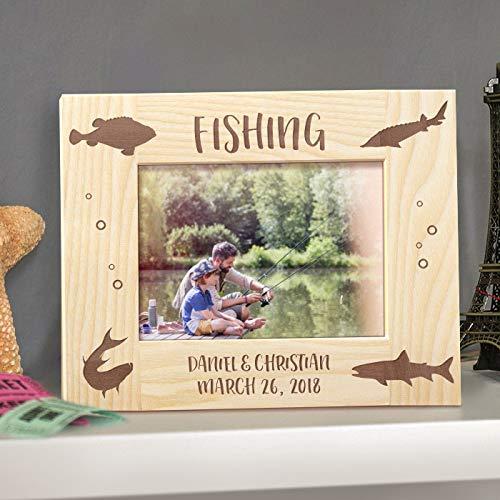 [해외]낚시 개인 목조 액자 4 인치 × 6 인치 라이트 브라운 (가로) / Fishing Personalized Wooden Picture Frame 4 x 6 Light Brown (Horizontal)