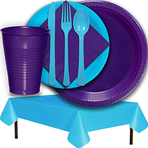 Plastic Party Supplies for 50 Guests - Purple and Aqua - Dinner Plates, Dessert Plates, Cups, Lunch Napkins, Cutlery, and Tablecloths - Premium Quality Tableware Set