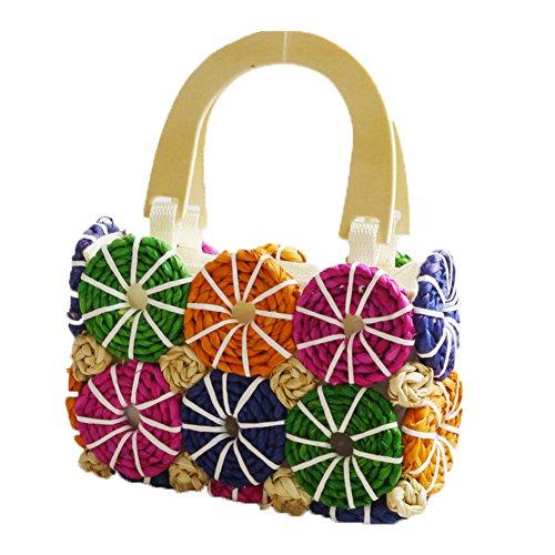 Top Shop Womens Handmade Crochet Straw Woven Handbag Shoulder Tote Square Beach - Biasia Francesco Tote Woven