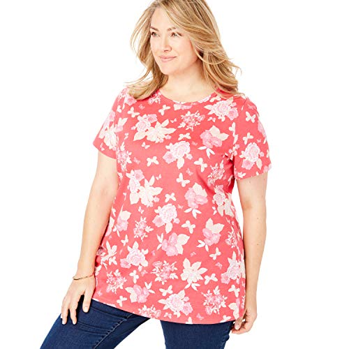 Woman Within Women's Plus Size Perfect Crewneck Printed Tee - Vibrant Rose Butterfly Floral, 3X