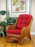 Jam Design Natural Handmade Rattan Wicker Lounge Light Brown Chair with Thick Burgundy Cushion