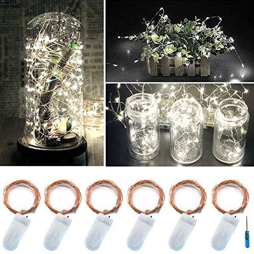(Twinkle Star 20led 6.5 FT Fairy Copper String Lights Cell Battery Operated with Screwdriver, Firefly Lights Starry String Lights for Indoor, Outdoor, Party, Table Decoration (6 Pack, White))