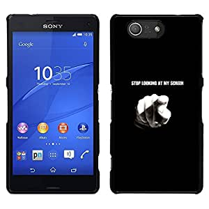 MOBMART Slim Sleek Hard Back Case Cover Armor Shell FOR Sony Xperia Z3 Compact - Stop Looking At My Screen