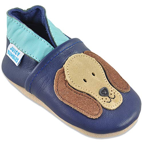 Baby Shoes Soft Sole Leather - Baby Boy Shoes - Blue Dog 2-3 Years Old (Shoe Size For 2 Year Old Boy)