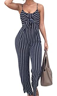 d0941e03d29 shekiss Women s Sexy Spaghetti Strap Striped Wide Leg Long Pants Palazzo Jumpsuit  Rompers Ladies Outfits