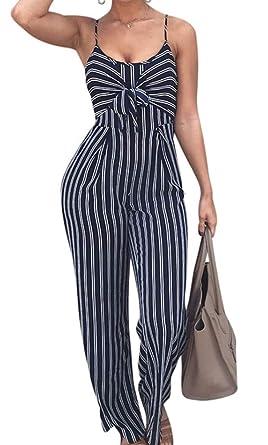 6dd76b991f6 shekiss Women s Spaghetti Strap Striped Jumpsuits Sleeveless Wide Leg Long  Pants PurplishBlue Rompers