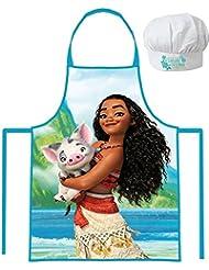 Disney Moana/Vaiana Apron and Chef's Hats Set, Officially Licensed.