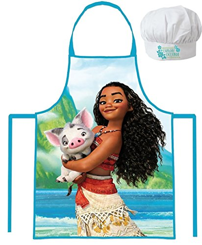 Disney Moana/Vaiana Apron and Chef's Hats Set, Officially Licensed. by Disney