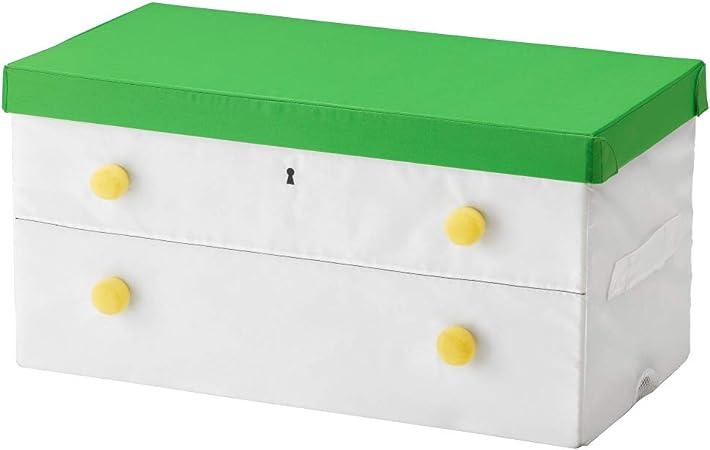 IKEA ASIA FLYTTBAR - Caja con tapa, color verde y blanco: Amazon.es: Hogar