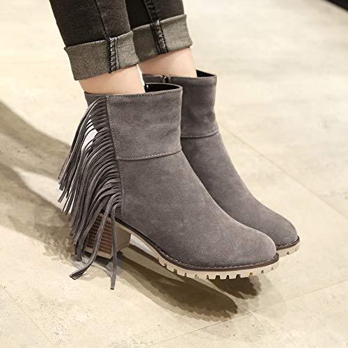 Boots Shoes Talon Chaussures Suede Gris Retro Chaud Fermeture Bottes Tassel Sexy 2018 Éclair Sauvage Épais Bottines Martin Chelsea overmal Hiver Haut Party Femmes Bohemian Mode R53AjL4