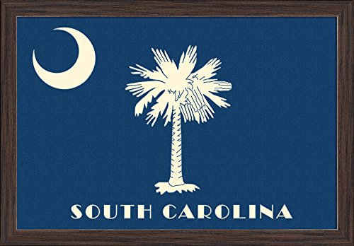 Wood Fp Painting (South Carolina - State Flag - Letterpress (24x16 Giclee Art Print, Gallery Framed, Espresso Wood))