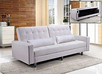 Frizzo divano letto contenitore cm ecopelle bianco posti