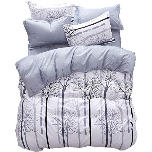 LAMEJOR Duvet Cover Sets Queen Size Winter Tree Pattern Bedding Set Comforter Cover (1 Duvet Cover+2 Pillowcases) ()