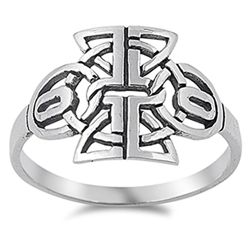 Celtic Tribal Knot Ring (Oxidized Tribal Celtic Filigree Knot Ring .925 Sterling Silver Band Size 6)