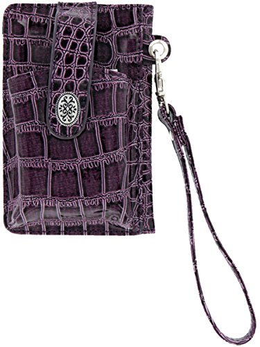 (Faux Croc Cell Phone Holder and Wallet - Purple or Black)