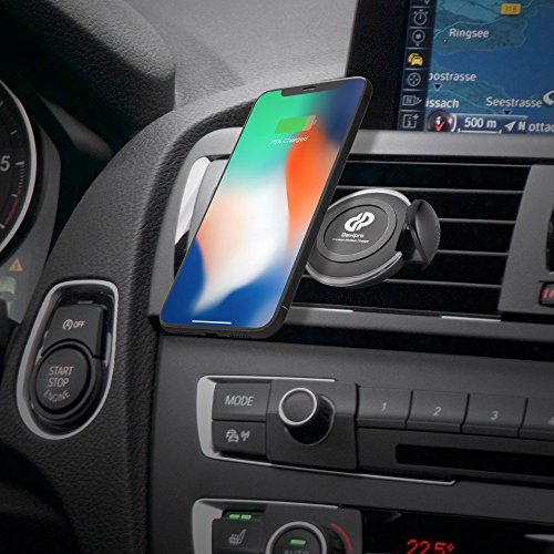 10W QI Fast Wireless Charger Car Mount Air Vent Phone Holder Cradle for Apple iPhone XR/iPhone Xs/X/iPhone Xs Max, LG G7/G6 Samsung Galaxy S9/S9+/Note 9 and Qi-Compatible Devices - Turbo Auxiliary Fan