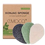 Konjac Facial Sponge Natural Activated Bamboo Charcoal Face Cleansing Exfoliating Sensitive Skin Body Massage Tools for Women and Men (3pcs Pack)