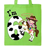 Inktastic - I'm Six-cowgirl riding horse birthday Tote Bag Lime Green 2ca38