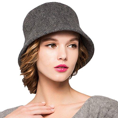 Maitose™ Women's Simple Wool Felt Bucket Hat Gray (Bucket Hat Wool)