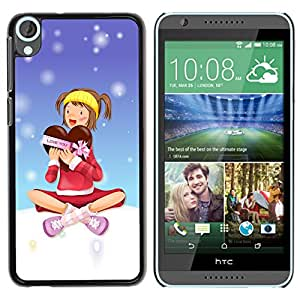 Qstar Arte & diseño plástico duro Fundas Cover Cubre Hard Case Cover para HTC Desire 820 ( Winter Snow Love Heart Chocolate Box Girl)