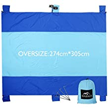RUPUMPACK Sand Escape Oversized Beach Blanket - 9' X 10', Portable Outdoor Picnic Mat, Strong Parachute Nylon, Machine Washable,Includes Four Stakes, Built In Sand Anchors & Valuables Pocket…