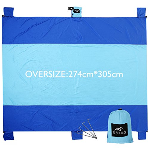 RUPUMPACK Sand Escape Oversized Beach Blanket - 9' X 10', Portable Outdoor Picnic Mat, Strong Parachute Nylon, Machine Washable, Includes Four Stakes, Built In Sand Anchors & Valuables - Black Sunglasses Uk Round