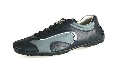 Prada Men's 4E1165 Blue Leather Sneaker EU 7 (41) ...
