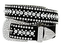 Ladies Rhinestone Bling Cowgirl Leather Belt