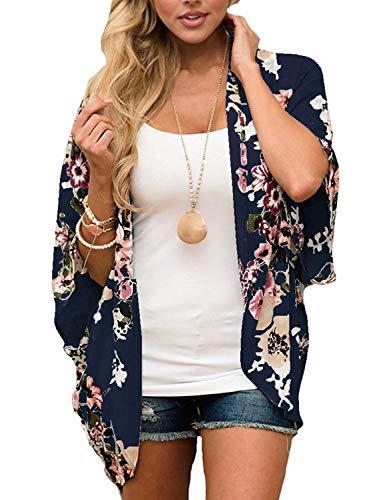 - Women Swimsuit Cover Up Floral Kimono Robe Boho Clothing for Women Dark Blue, XL