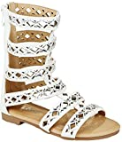 Girls Kids Rome White Rhinestone Cut Out Strappy Gladiator Roman Comfort Mid Calf Flat Sandals-11