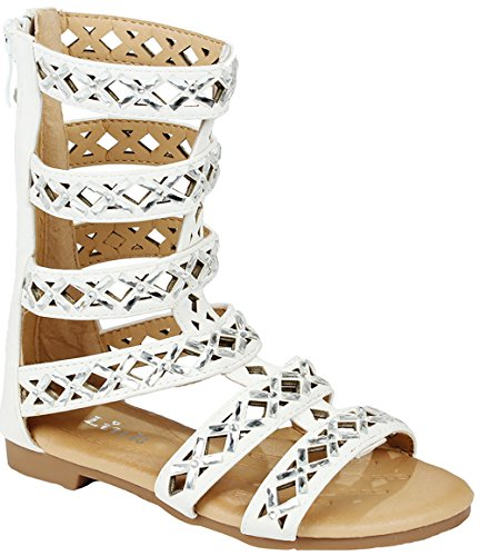 Girls Kids Rome White Rhinestone Cut Out Strappy Gladiator Roman Comfort Mid Calf Flat Sandals-11 by JJF Shoes