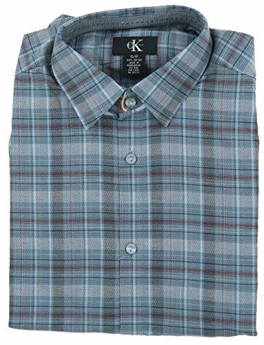 Calvin Klein Mens Button Down Long Sleeve Shirt, Grey, Medium (Calvin Long Sleeve Dress Shirt)