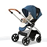 PLDDY Standard Baby Carriage High Landscape Can Sit Horizontal Portable Folding Two-Way Off-Road Damping Car Newborn Four Seasons Universal Optional 3 Color Travel (Color : Blue)