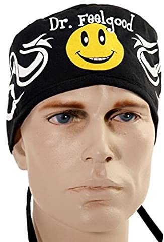 USA Made Dr. Feelgood Smiley Face Medical Scrub Cap Adjustable Ties Doctor Nurse Vet Aid Dentist - Smiley Black Cap