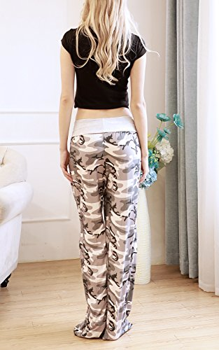 NEWCOSPLAY Women's Comfy Stretch Floral Print High Waist Drawstring Palazzo Wide Leg Pants (M, Camouflage) by NEWCOSPLAY (Image #6)