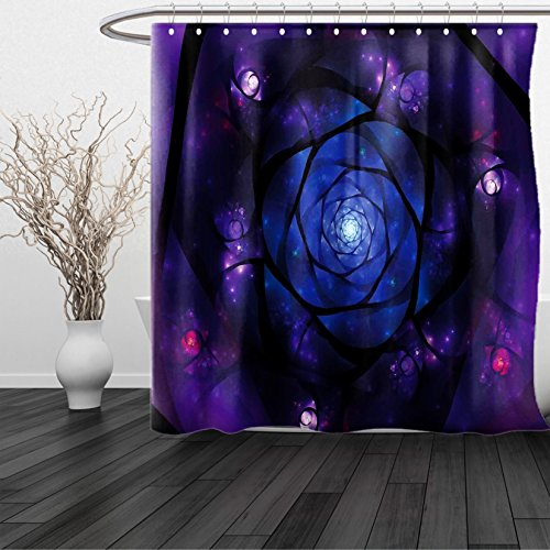 HAIXIA Shower Curtain Mandala Mystical Psychedelic Asian Universe Symbol in Space Sacred Motif Art Print Dark Purple Blue