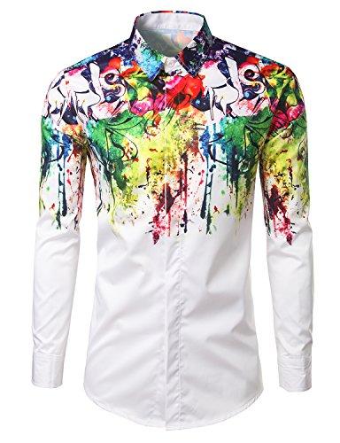 Mens Geek Psychedelic Splash-ink Printed Slim Fit Long Sleeve Dress Shirts X-Large (Fancy Striped Pocket Dress Shirt)