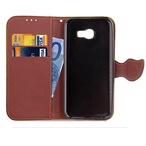 SRY-Caso sencillo Para la cubierta de la caja de Samsung J7 de la galaxia de Samsung, con el acollador, hebilla magnética Hoja-como, Stent incorporado Shell del teléfono de la manera Protección reforz Black