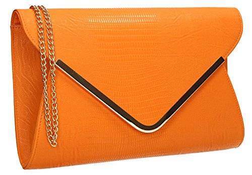 Almer Animal Print Croc Faux Leather Envelope Evening Clutch Bag Ladies Bridal Party Prom Bags - (Metallic Suede Clutch)