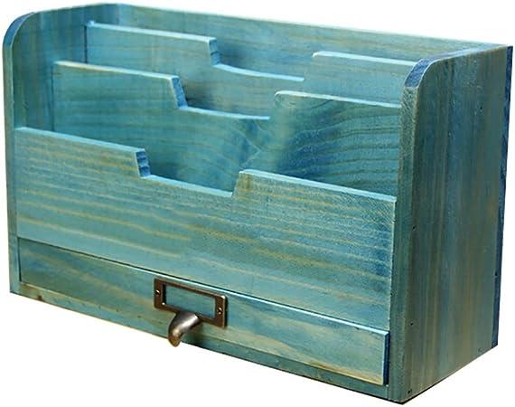 Carpetas Carpeta para tarjetas postales Caja de almacenamiento de escritorio de madera Caja de almacenamiento retro para revistas de madera maciza retro (28.7 cm * 10.2 cm * 17.3 cm) caja de archivo: Amazon.es: Hogar