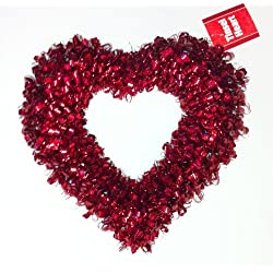 Valentine Heart Red Tinsel Wreath 16""