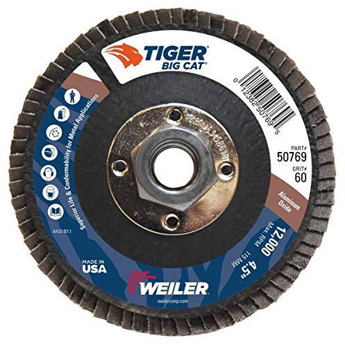 - WEILER CORP. 50769 - 4-1/2\ Big Cat Abrasive Flap Disc, Flat, Phenolic Backing, 60AO, 5/8\